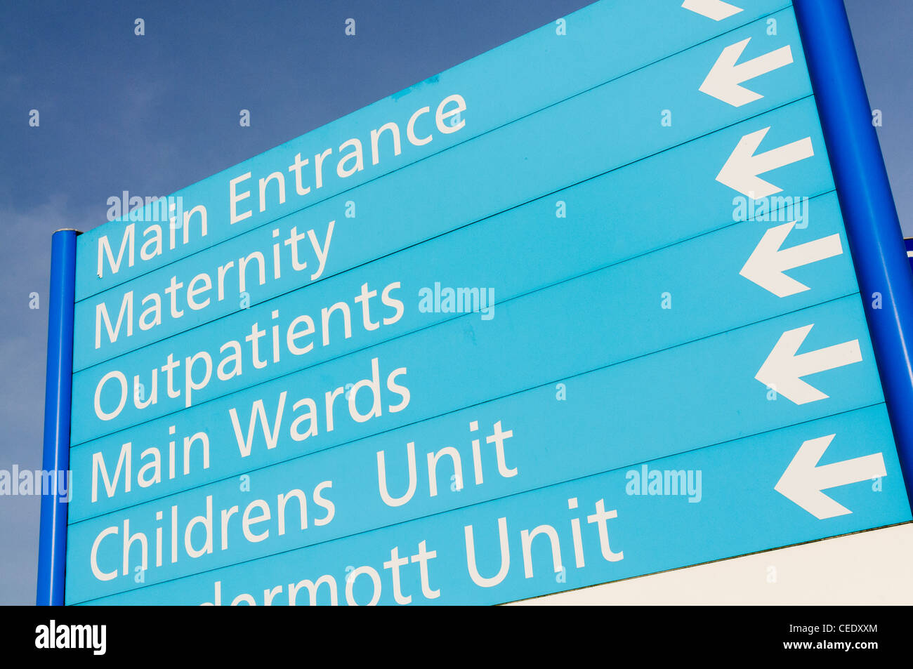 Hospital sign for Maternity, Outpatients, wards and children's unit - Stock Image