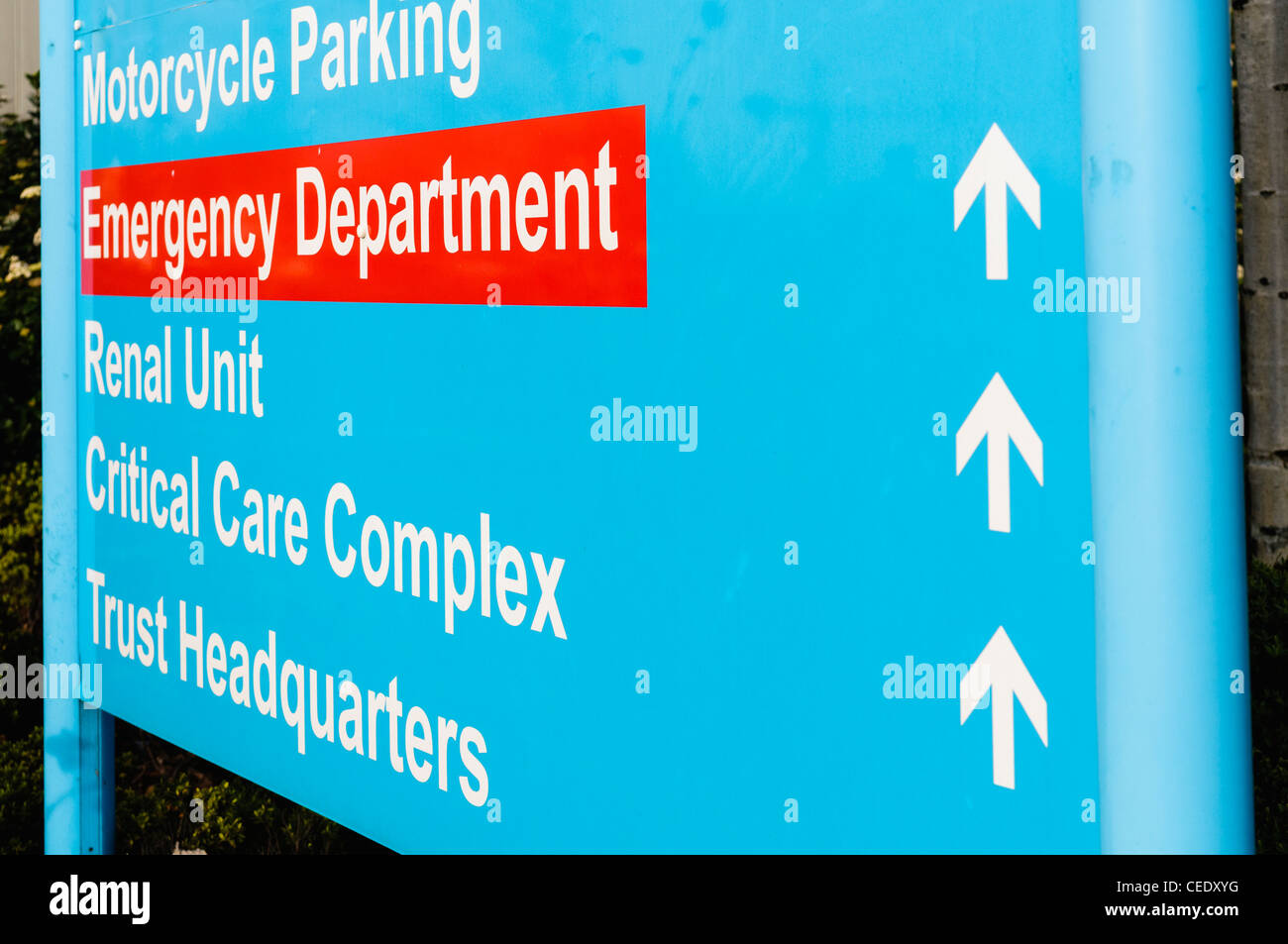 Hospital sign for Emergency Department, Renal Unit, Critical Care and Trust HQ - Stock Image
