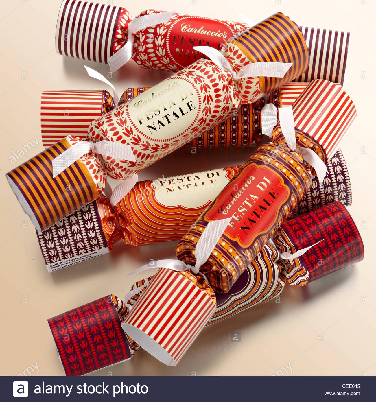 selection Christmas crackers - Stock Image