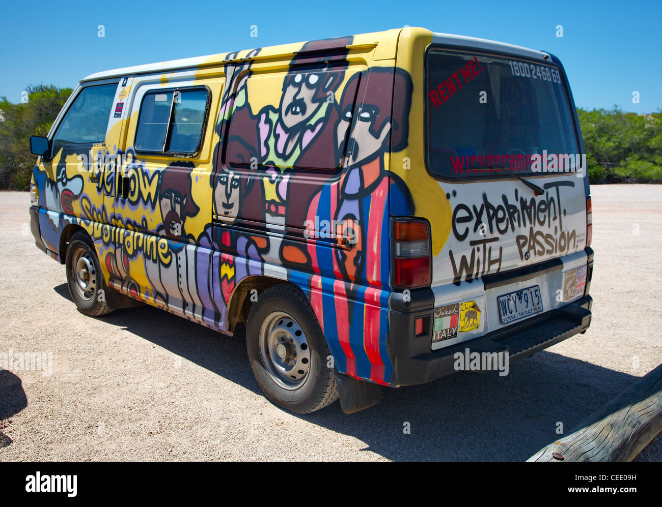 33d3089298decc Wicked Campers Beatles Yellow Submarine camper van in a Western Australia  car park