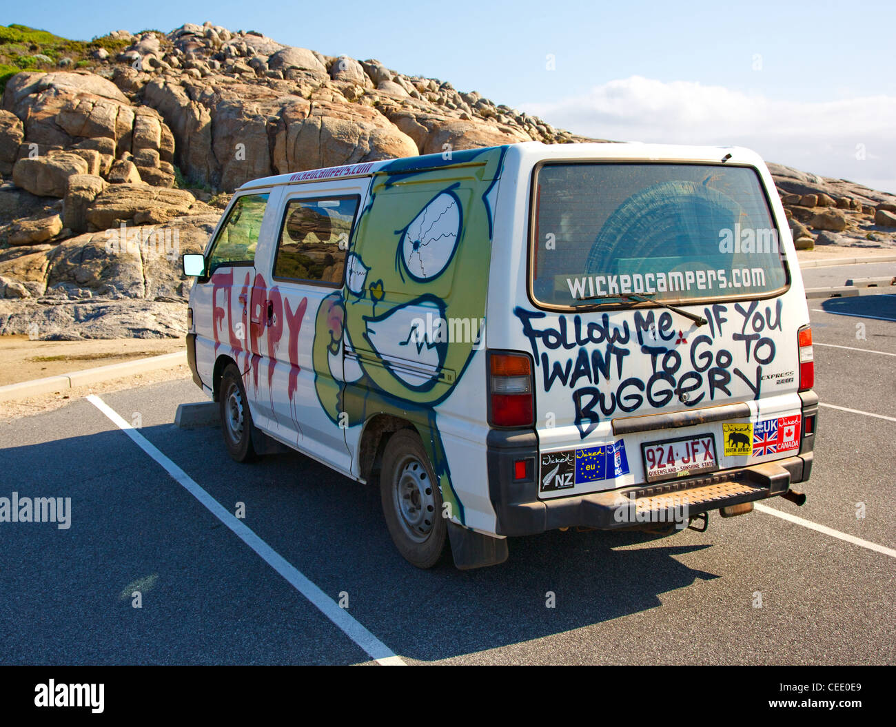 Flippy the Wicked Campers camper van in a western Australia car park ...