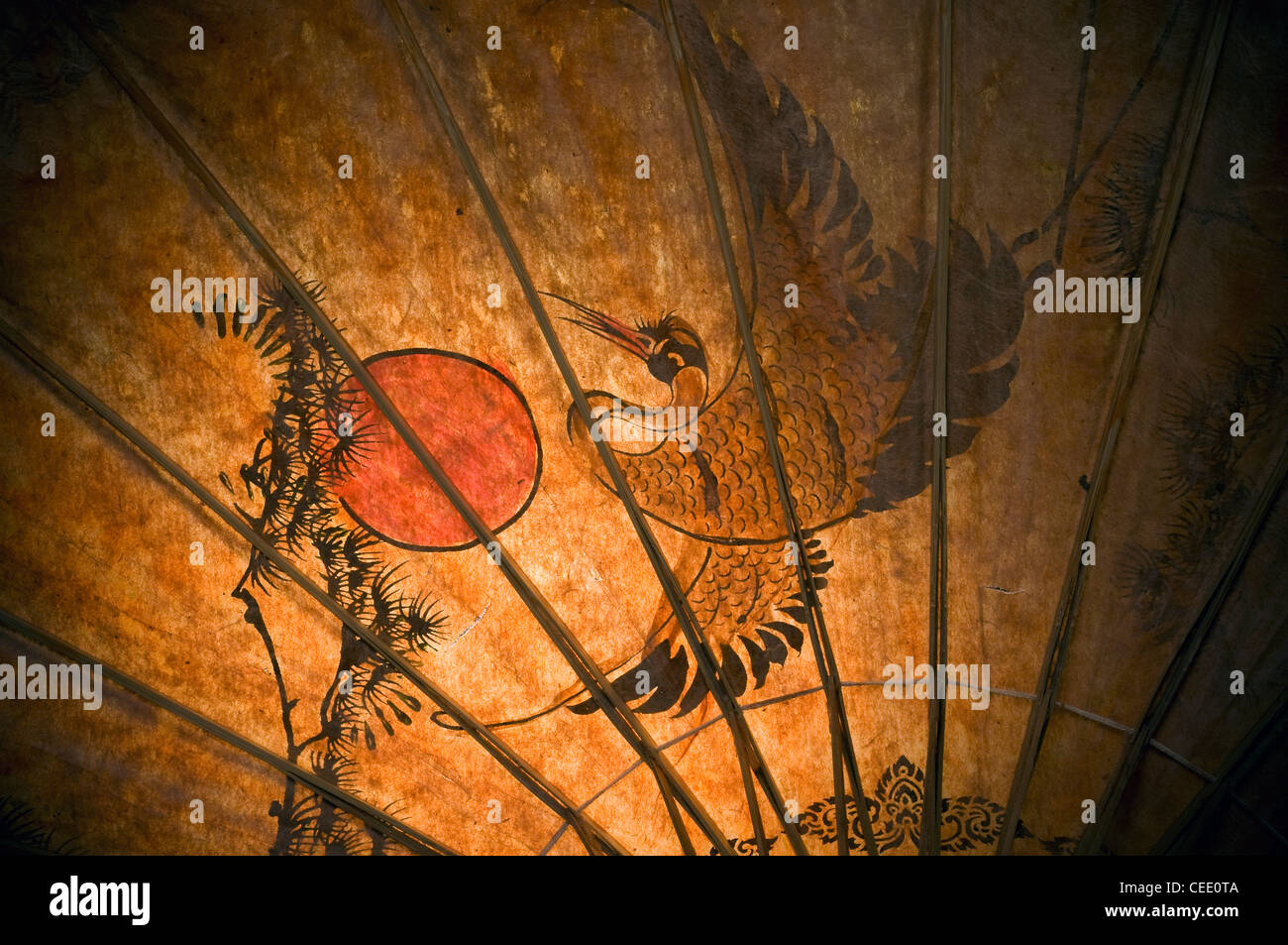 rising sun on japanese parasol, asia, asian, background, bamboo, chiangmai, china, chinese, colorful, crafts, culture, - Stock Image