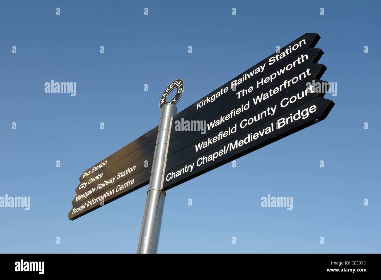 Wakefield city centre landmark sign - Stock Image