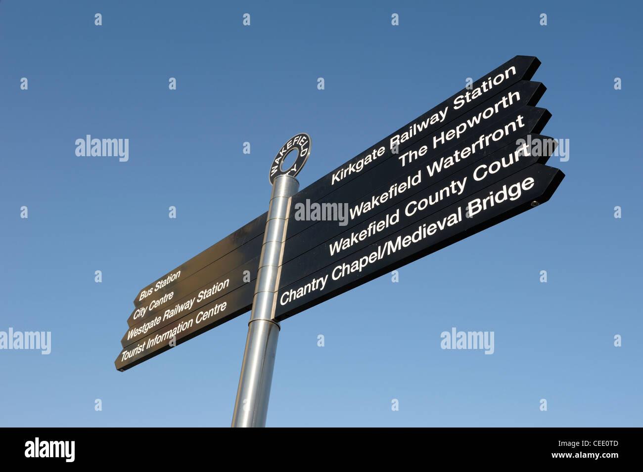 Wakefield city centre landmark sign Stock Photo
