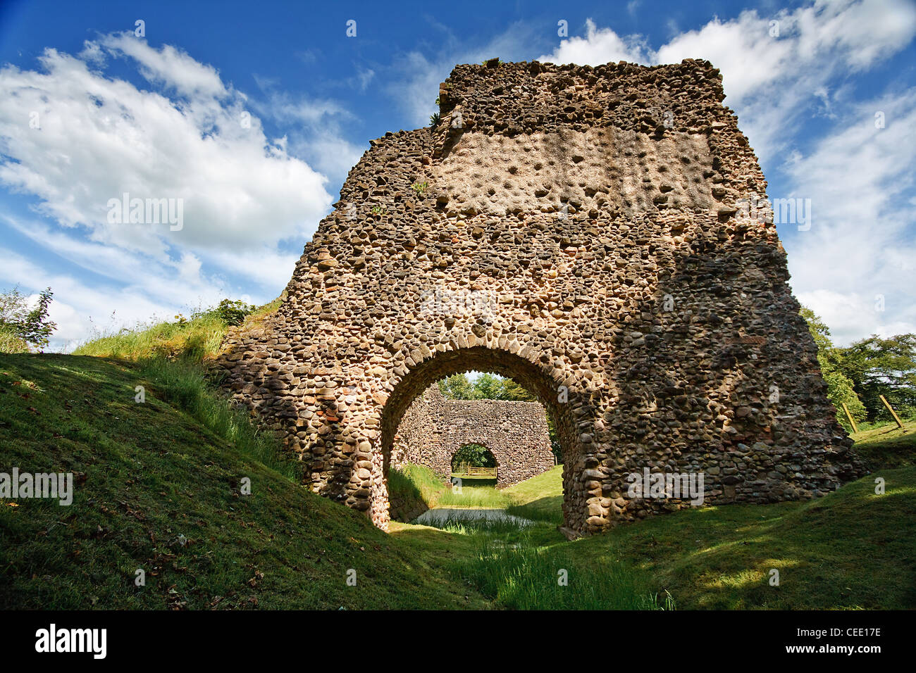 Lochmaben Castle a ruined castle in Scotland situated on the banks of Castle Loch near the village of Lochmaben - Stock Image