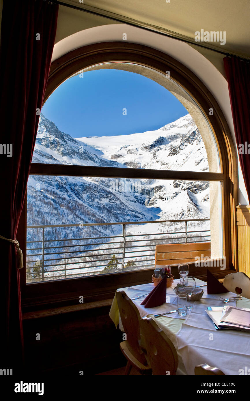 Alp Grum resort, Bernina express, Switzerland - Stock Image