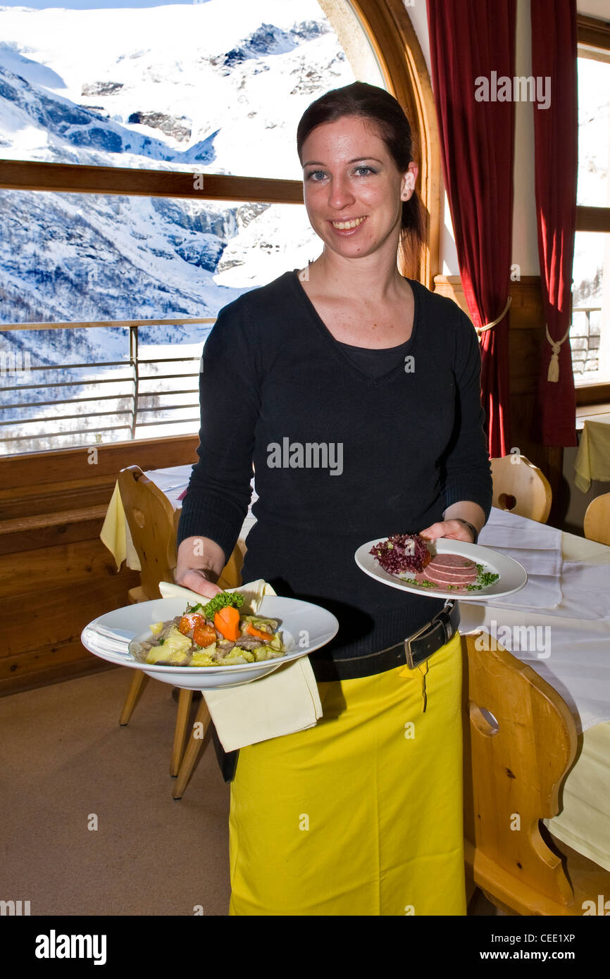 Traditional food, Pizzoccheri, Alp Grum resort, Bernina express, Switzerland - Stock Image