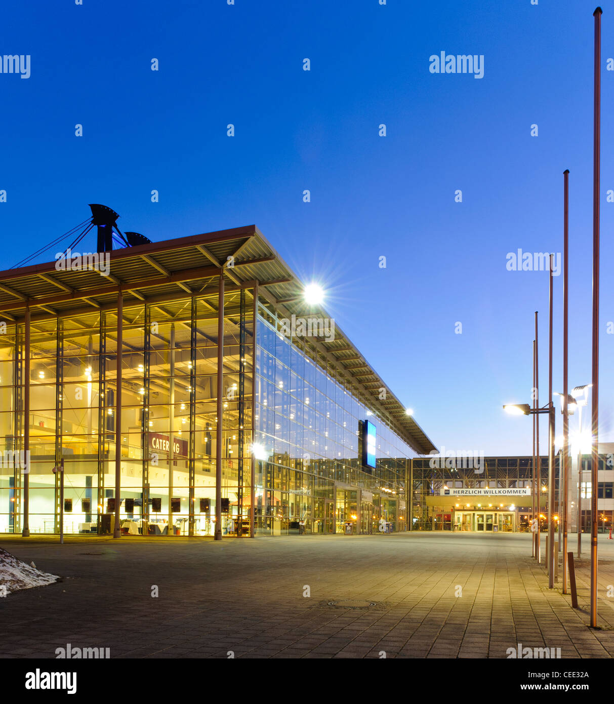 Messe Erfurt Congress Center, exhibition grounds, in the evening, Erfurt, Thuringia, Germany, Europe - Stock Image