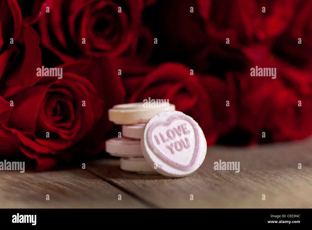 I Love You Love Heart Sweet And Red Roses For St Valentines Day