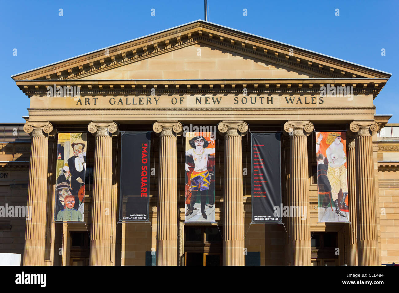 entrance facade of Art Gallery of New South Wales, Sydney, New South Wales, Australia - Stock Image