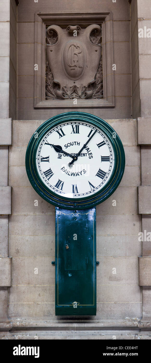 clock with logo New South Wales Government railways, Central Railway Station, Sydney, Australia - Stock Image