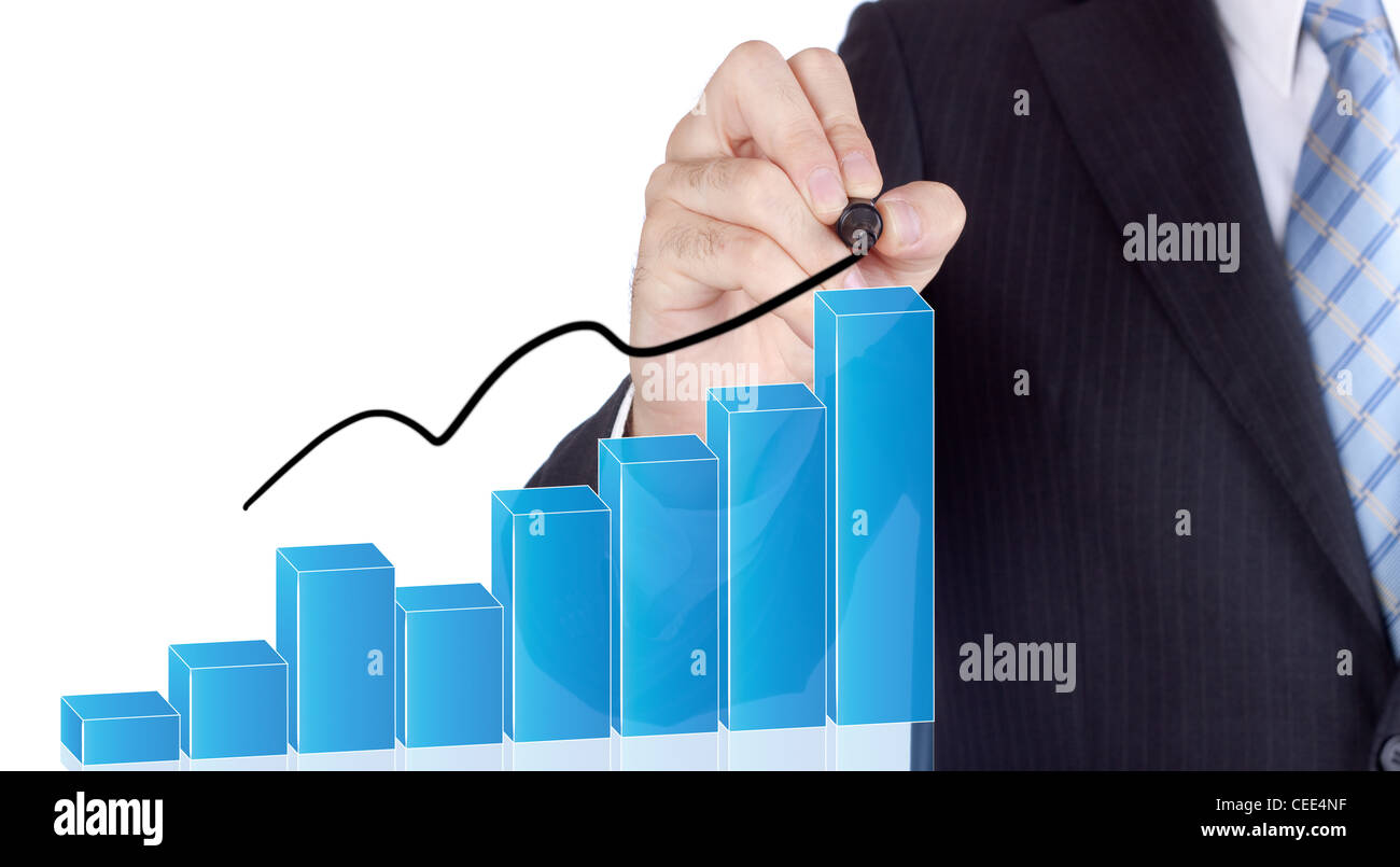 Businessman writing over a increasing bars for a success concept. - Stock Image