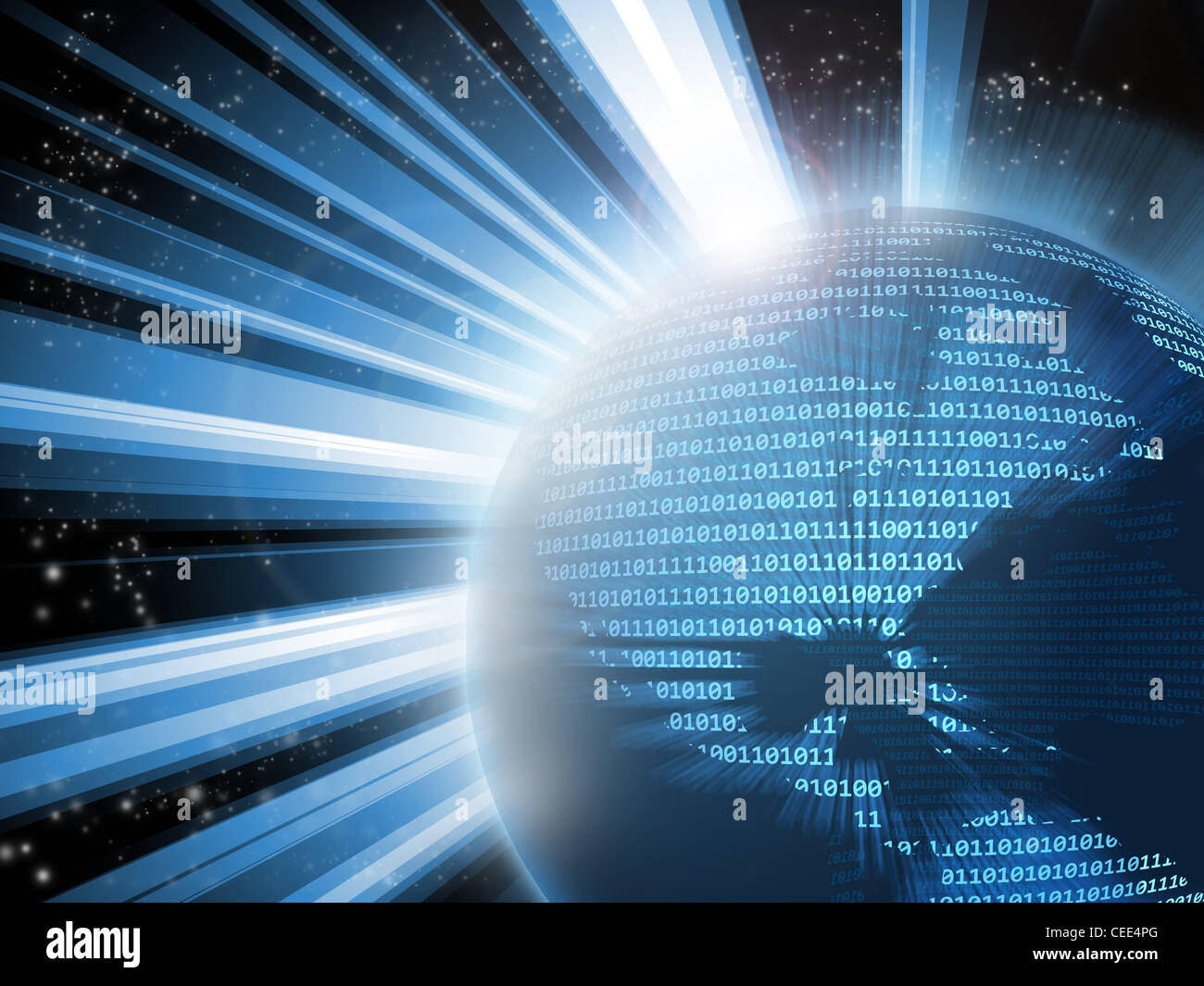 Planet earth made of binary code with one a zeros, showing America. Blue is predominant. - Stock Image