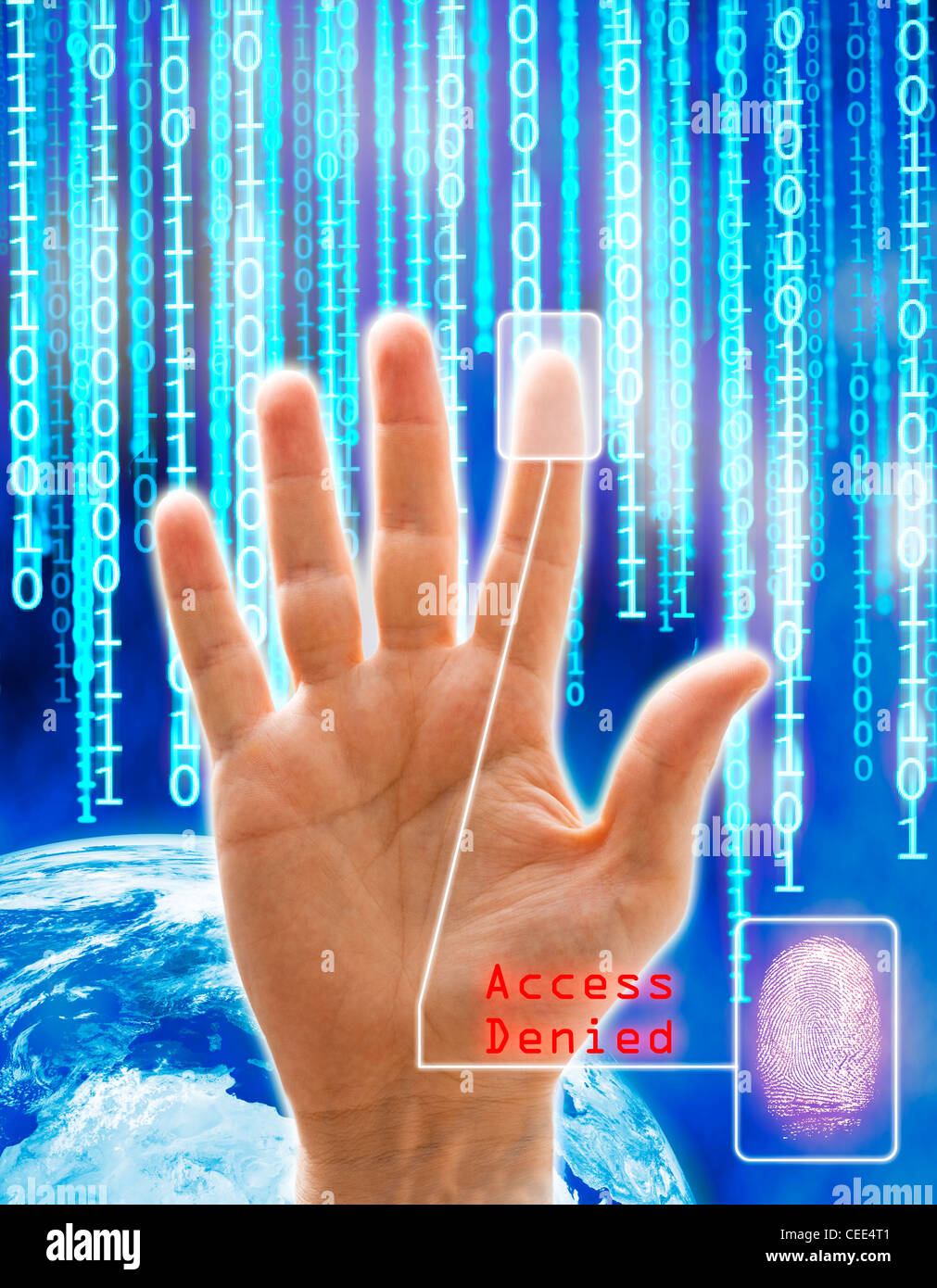 Image concept of security and technology. All the images are computer generated except the hand that is a physical - Stock Image