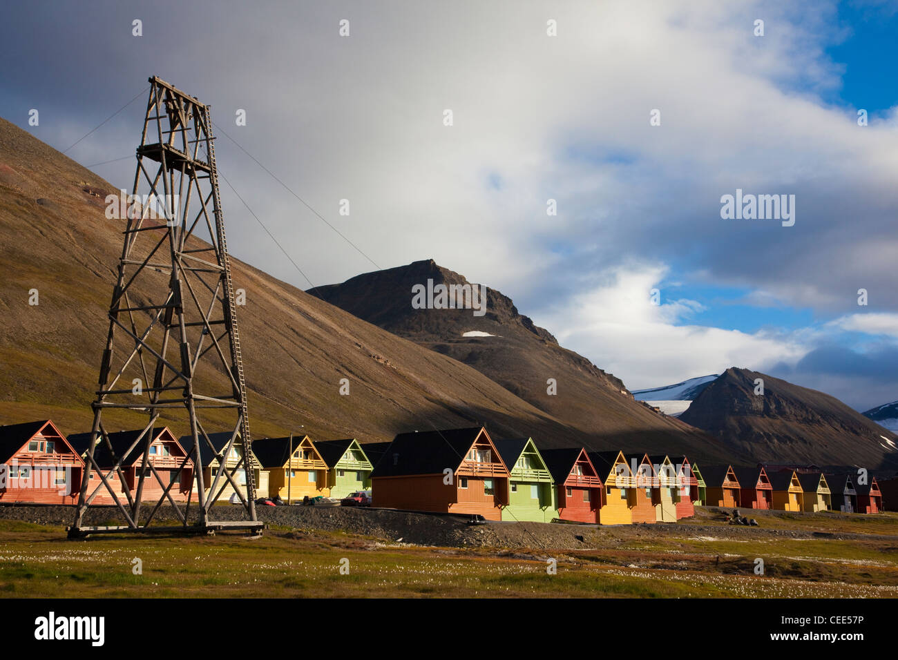 Wooden houses in Longyearbyen, the largest settlement of Svalbard archipelago, Norway. - Stock Image