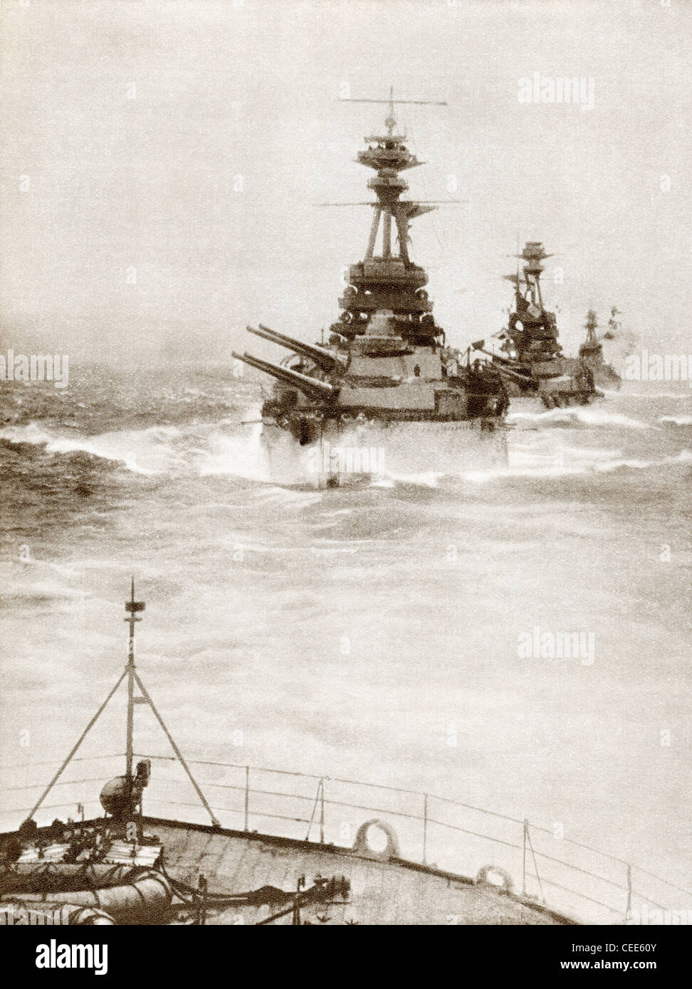 Battleships from a Battle Squadron of the Grand Fleet patrolling the North Sea in 1916 during World War I. - Stock Image