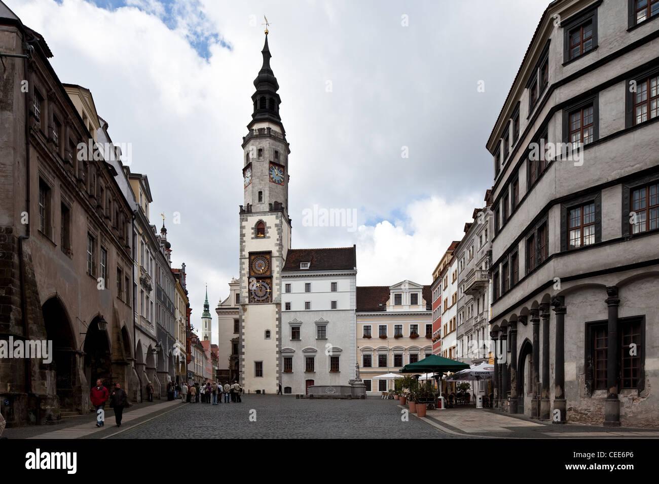 Görlitz, Untermarkt, links die Waage Stock Photo
