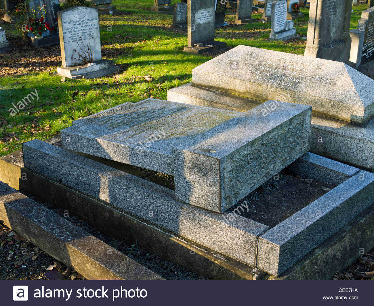 Head Stones Laid down for Health and Safety Crooks Cemetery Sheffield UK - Stock Image