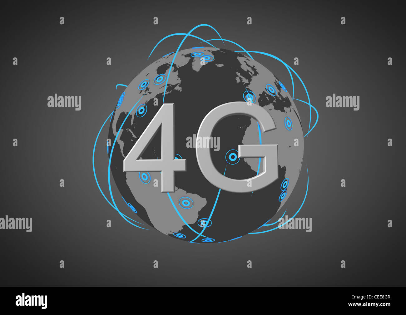 concept for a global 4g network - Stock Image