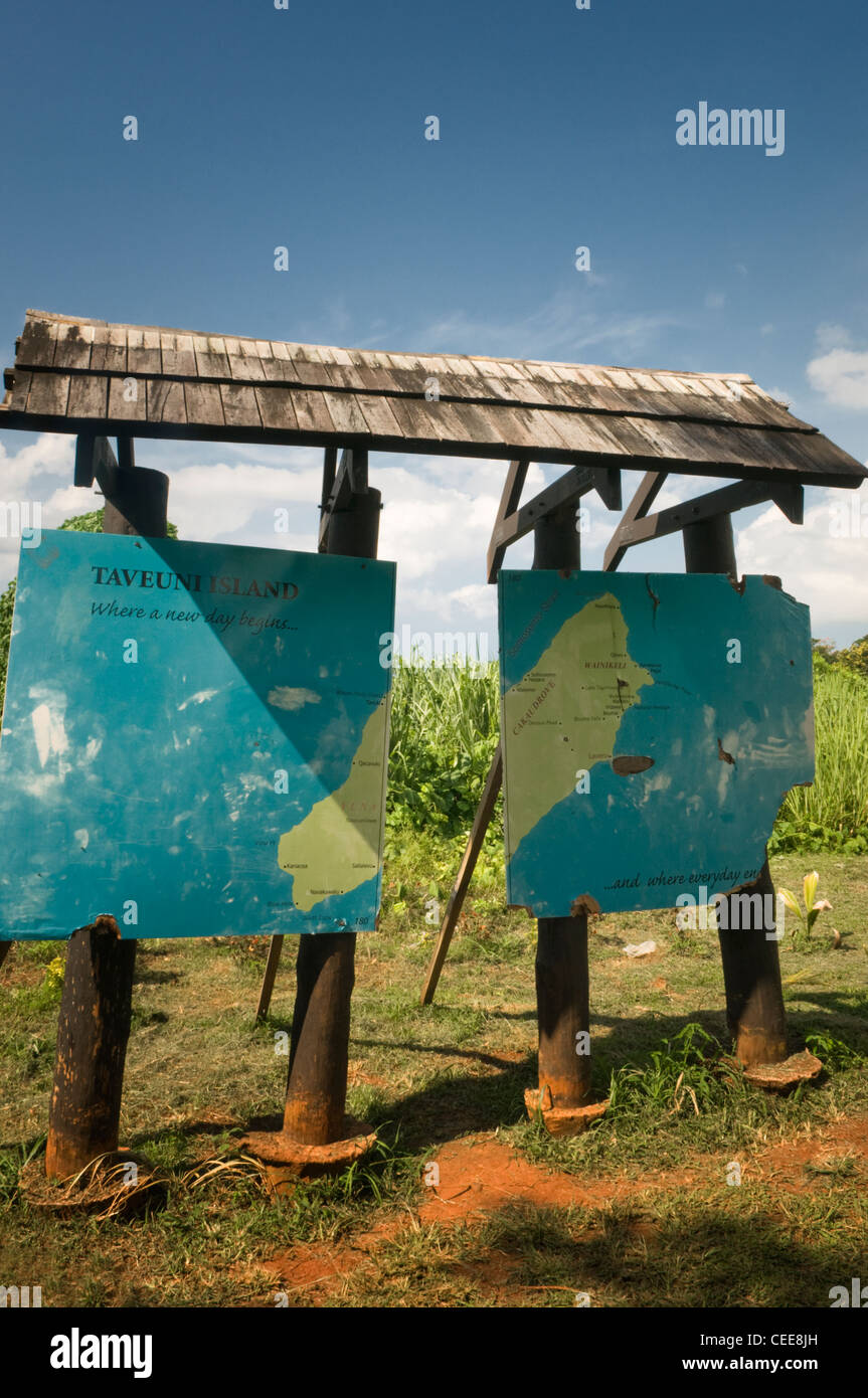 International date line marker sign Tavenui Island Fiji - Stock Image