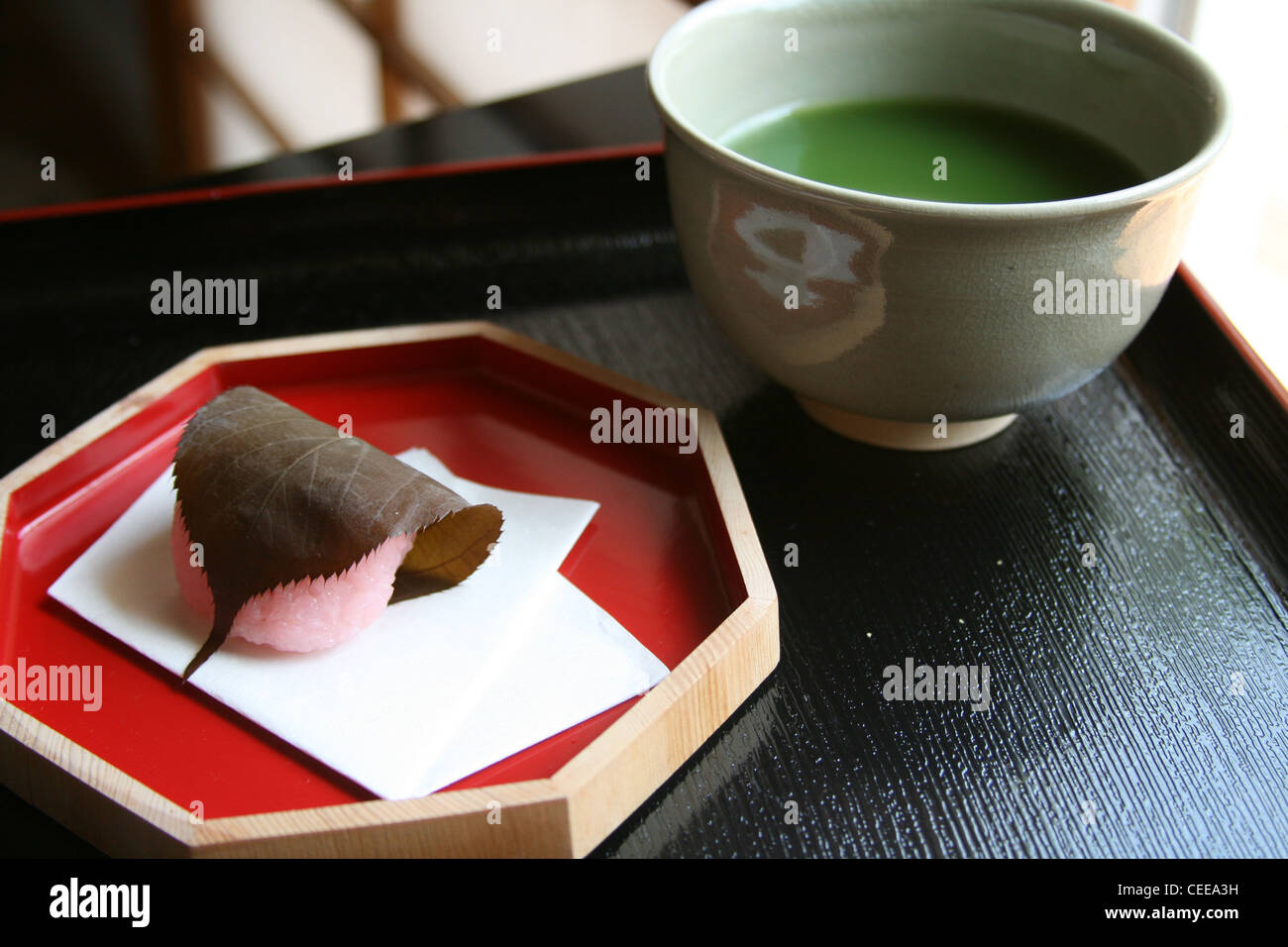 Traditional Japanese authentic sweets rice cake pink sakura