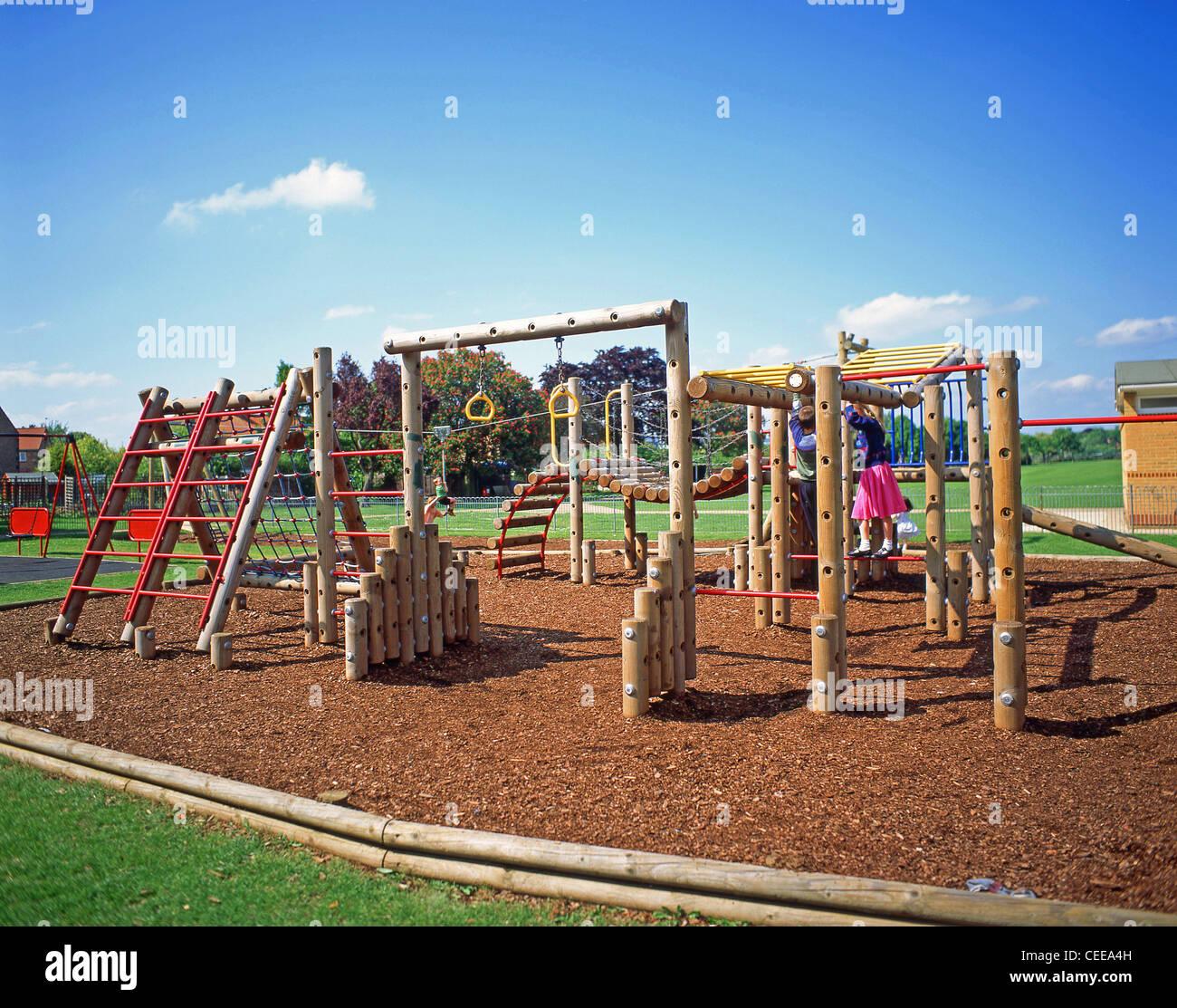 Children's outdoor playground, Winkfield, Berkshire, England, United Kingdom Stock Photo