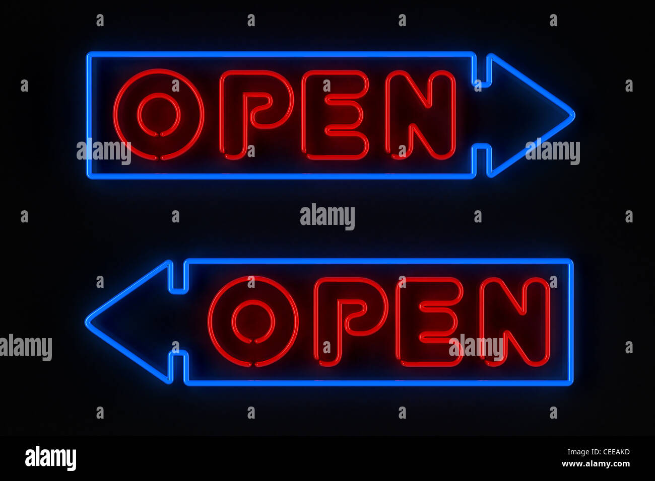 Neon sign with arrow - Stock Image