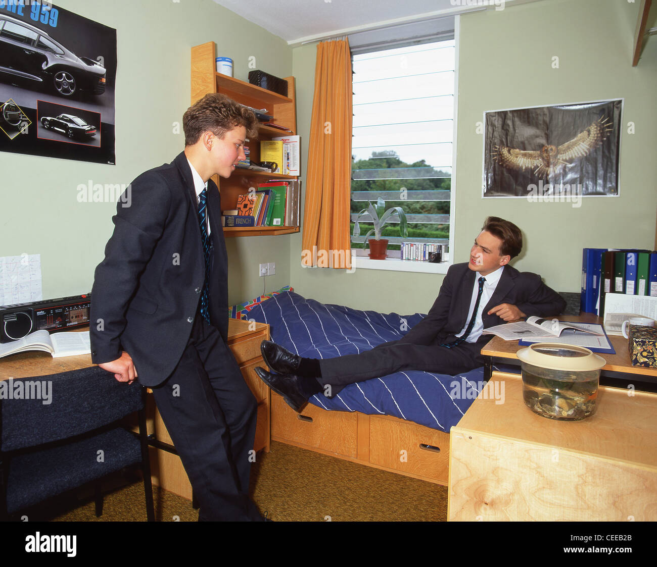 Secondary school boys in dormitory at private school in Surrey, England, United Kingdom - Stock Image