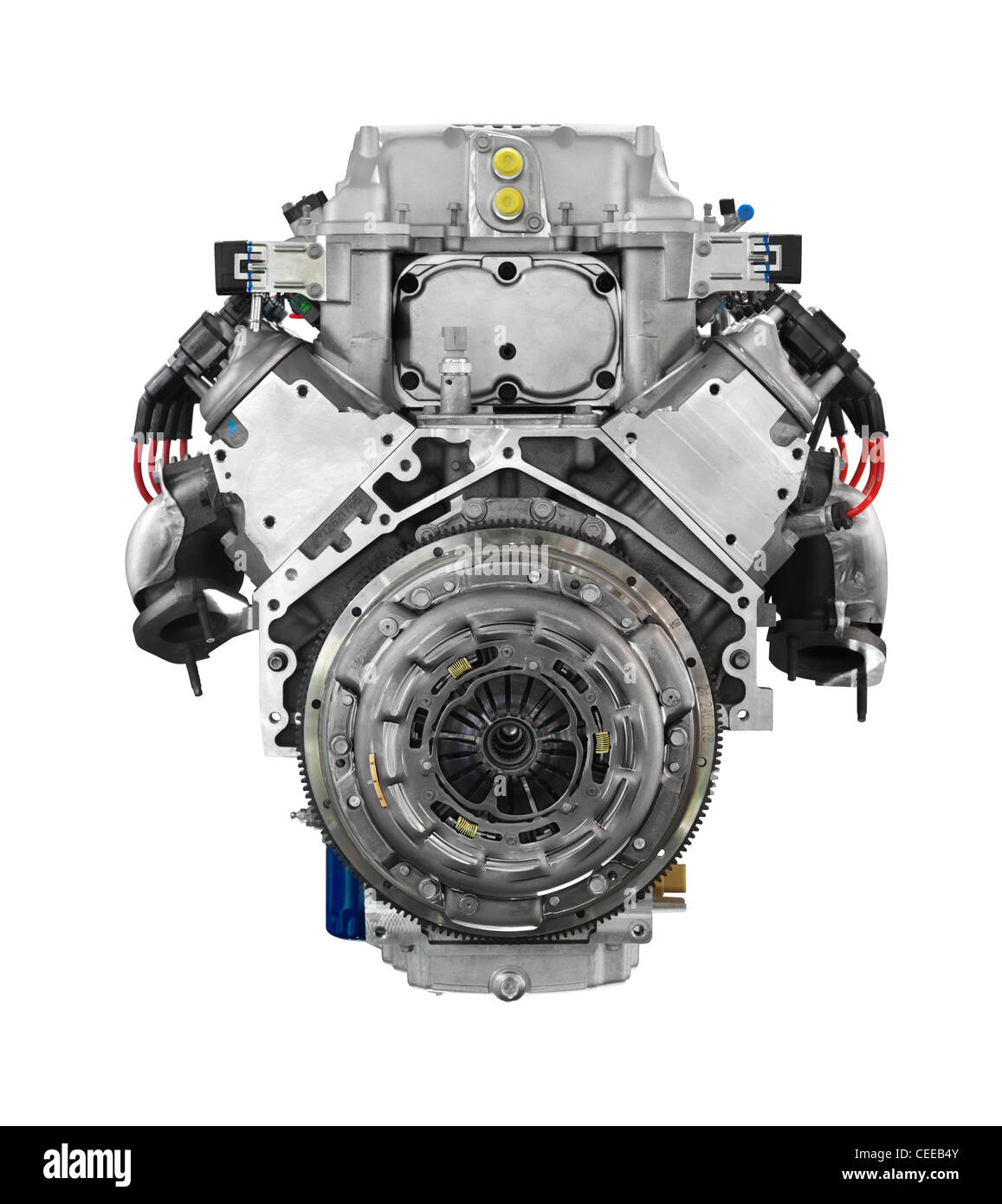 Cadillac 556HP 6.2L V8 car engine from the clutch side isolated on white background with clipping path - Stock Image
