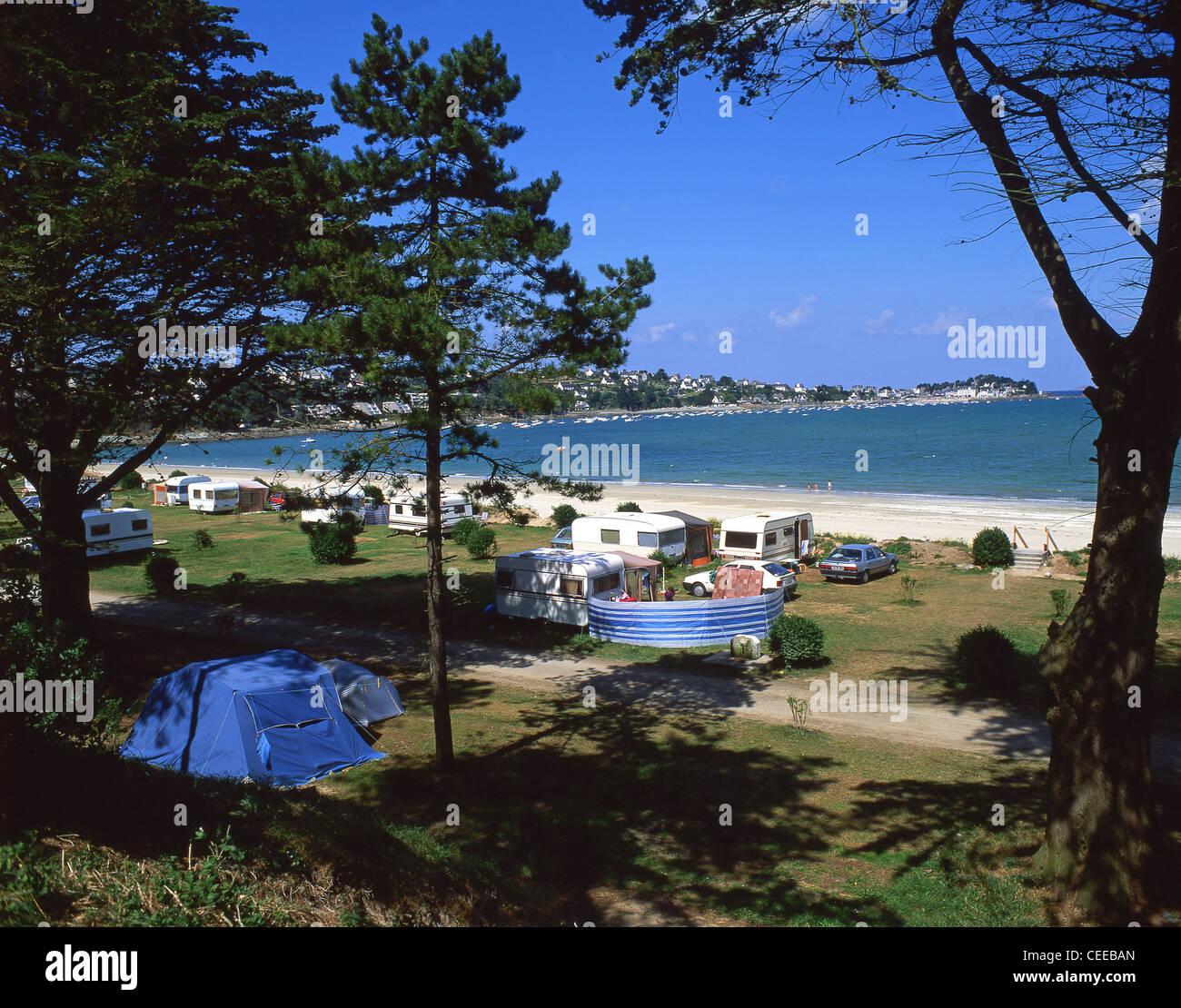 Municipal campsite, Locquirec, Finistère, Brittany, France - Stock Image