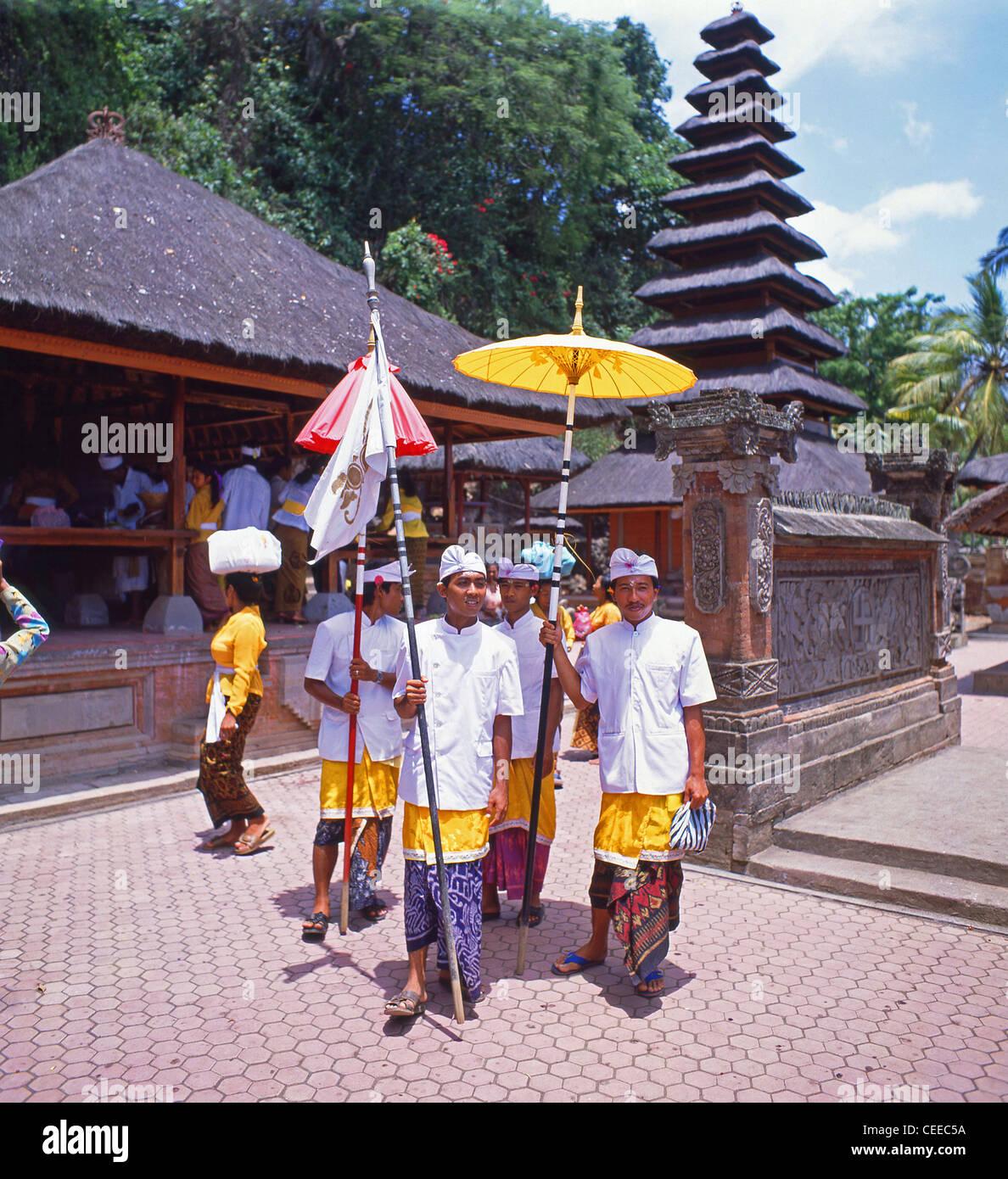 Procession in Temple of The Bats, Goa Lawah, Bali, Bali Province, Lesser Sunda Islands, Indonesia - Stock Image