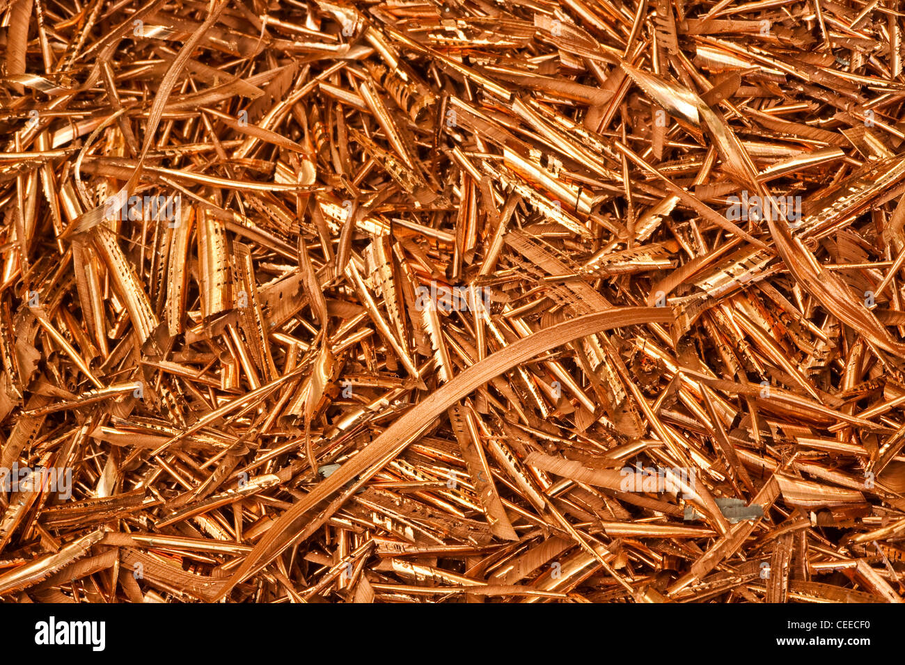 Close-up image of copper shards from a machining process - Stock Image