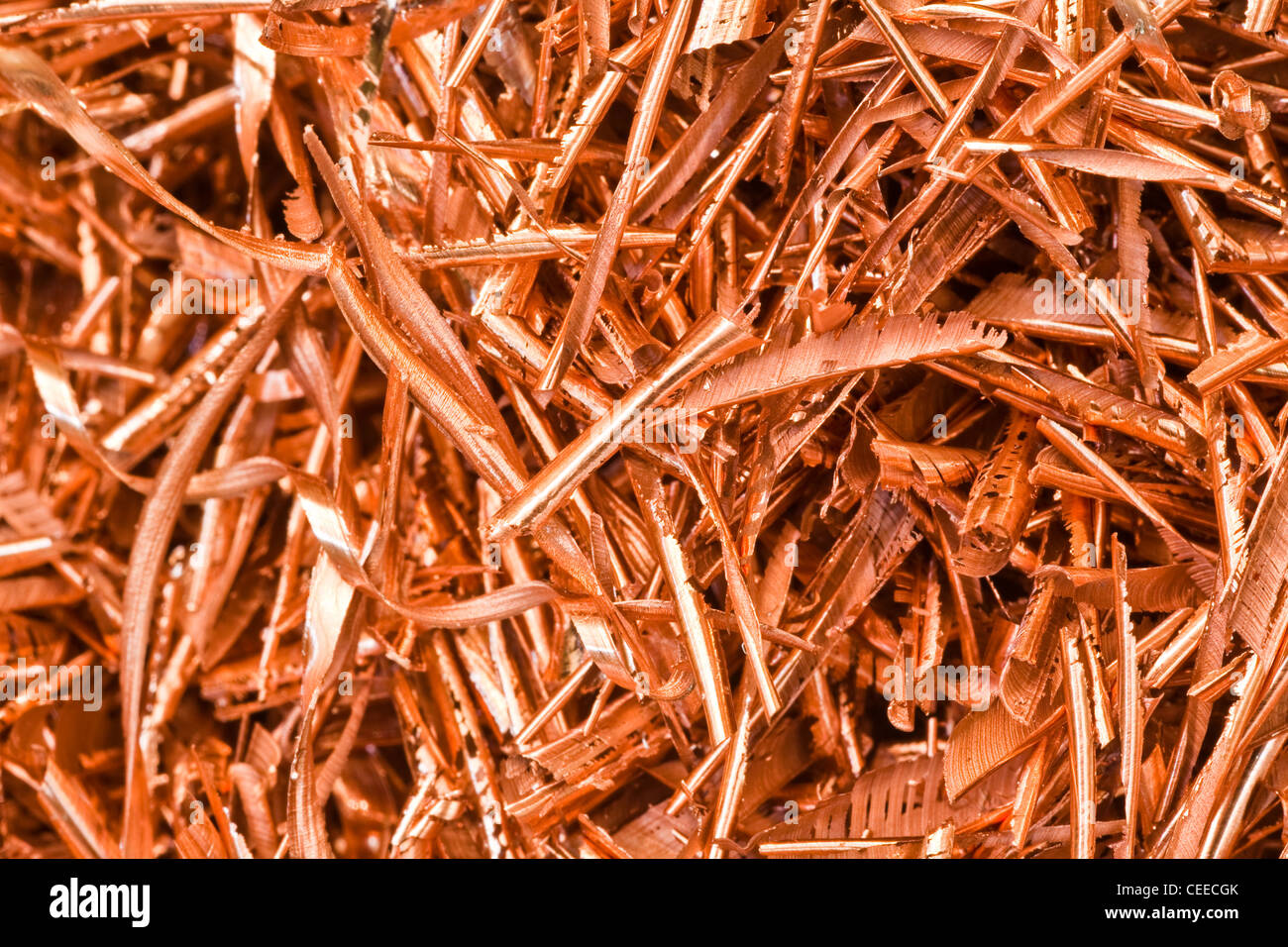 Abstract image of copper machining swarf - Stock Image