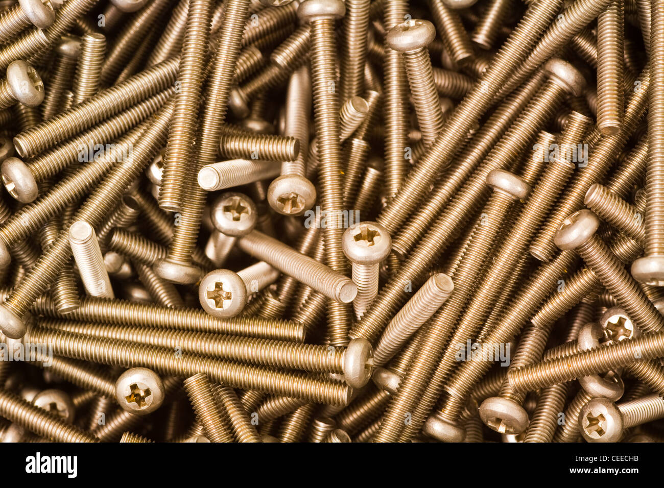 A selection of steel machine screws - Stock Image