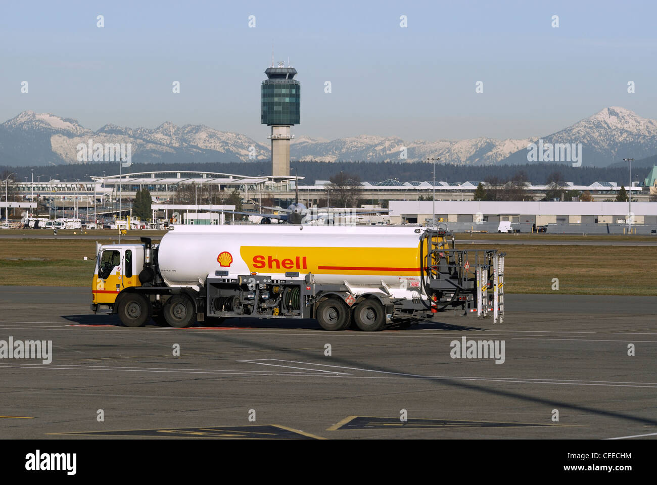 Shell jet fuel tanker truck carrying at the Vancouver International  Airport. - Stock Image