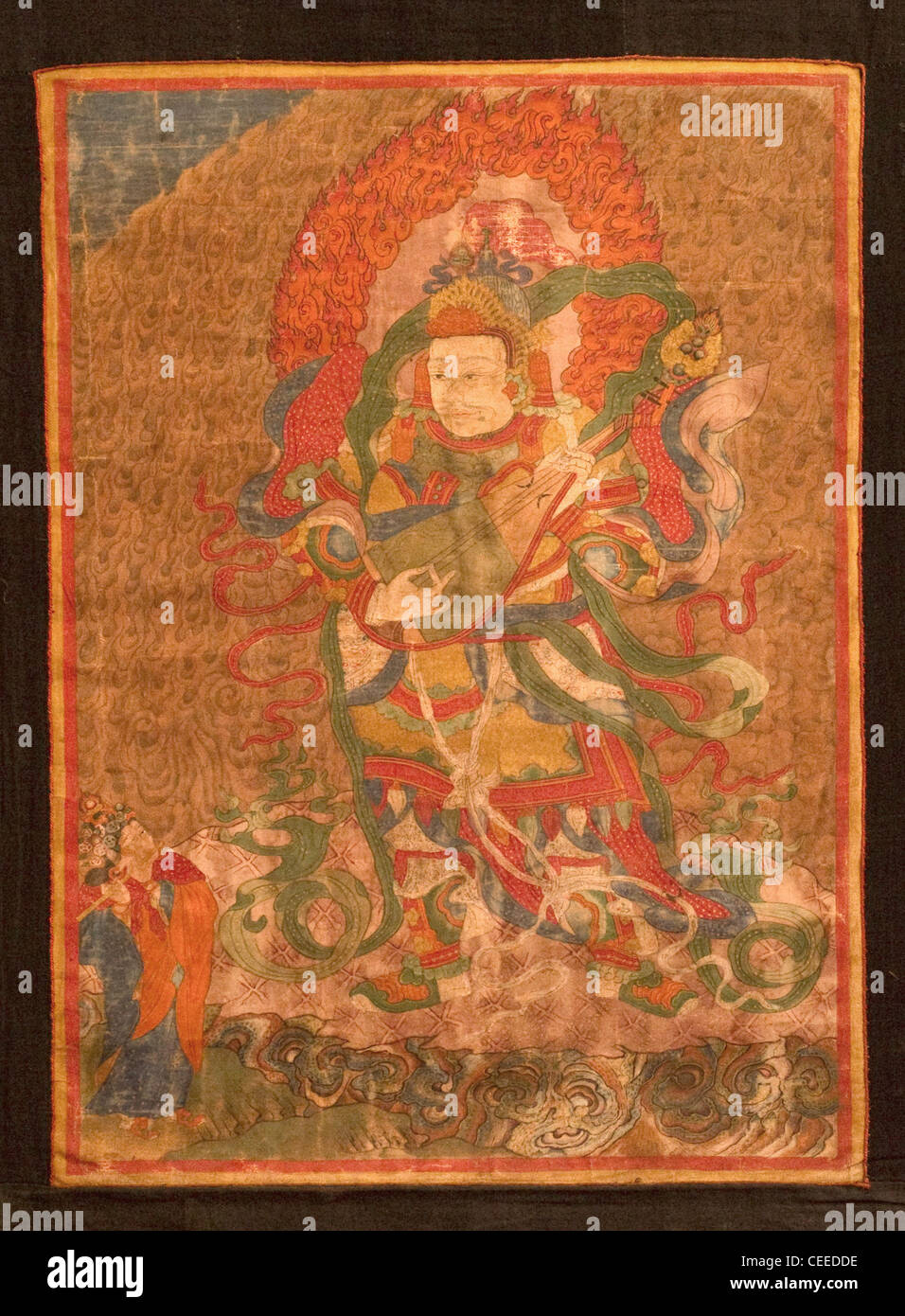 PRE-17TH Century Thangkas or scrolls painted by the monks of Chemrey monastery as a token of religious devotion. - Stock Image
