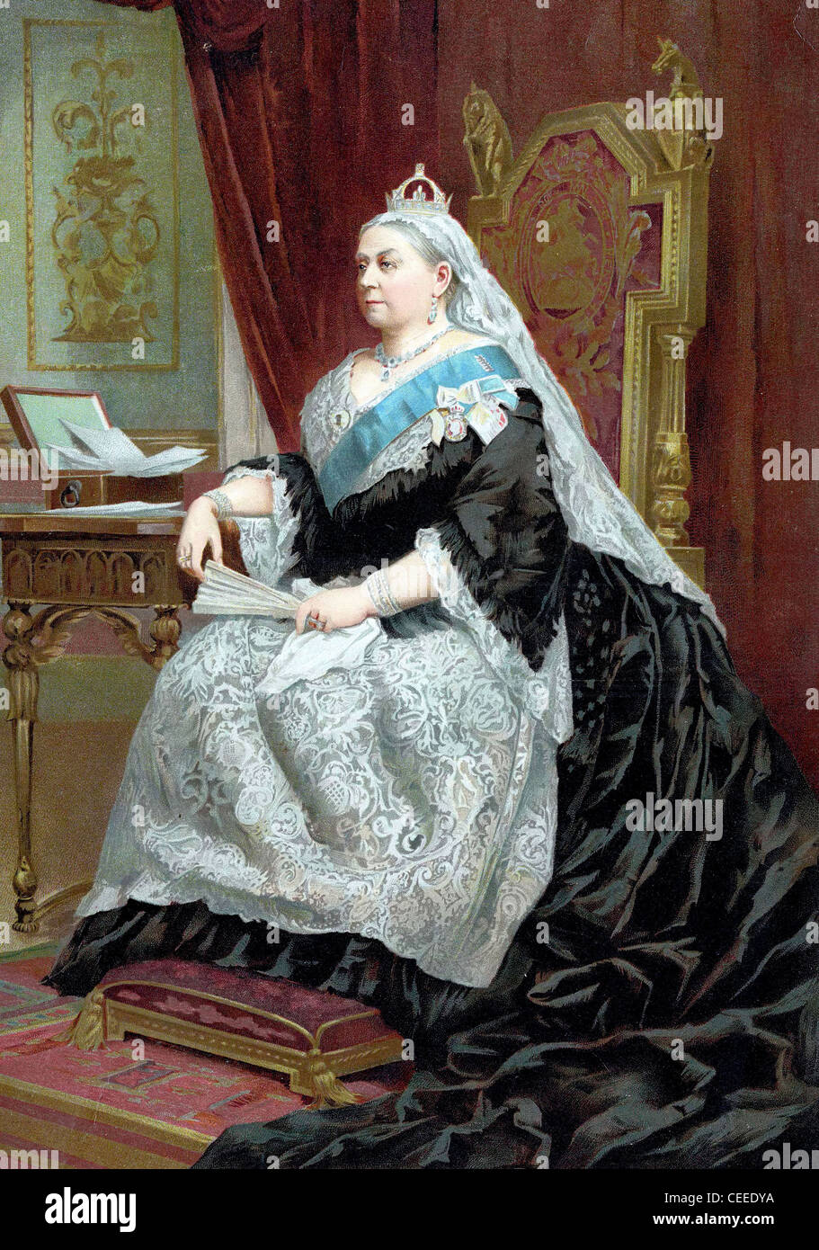 Queen Victoria (1819-1901) queen of United Kingdom from 1837, Empress of India from 1876, crowned in 1838 - Stock Image