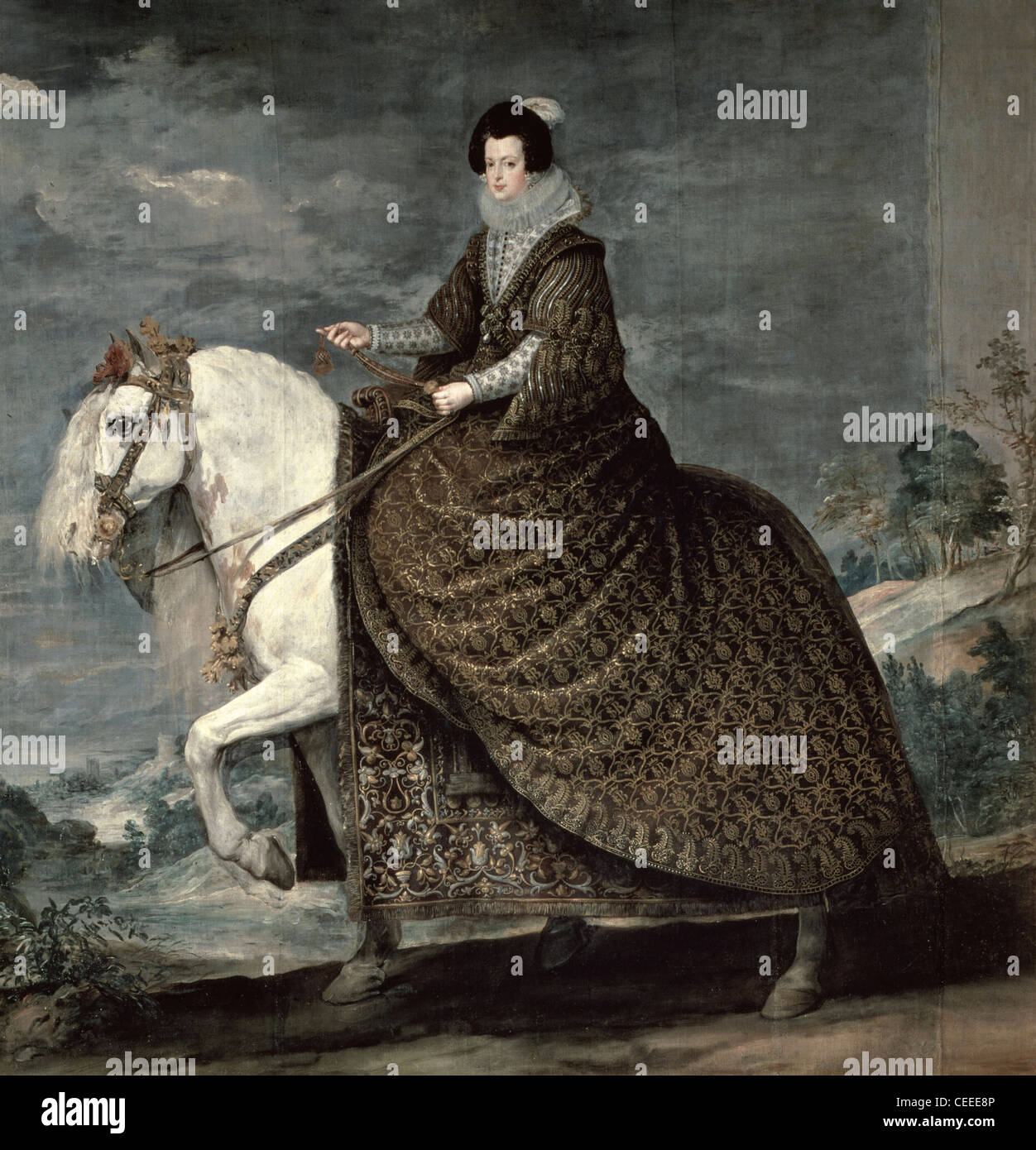 Diego Velázquez (1599-1660) Spanish school Portrait of Queen Isabella on horseback 1635 Oil on canvas - Stock Image