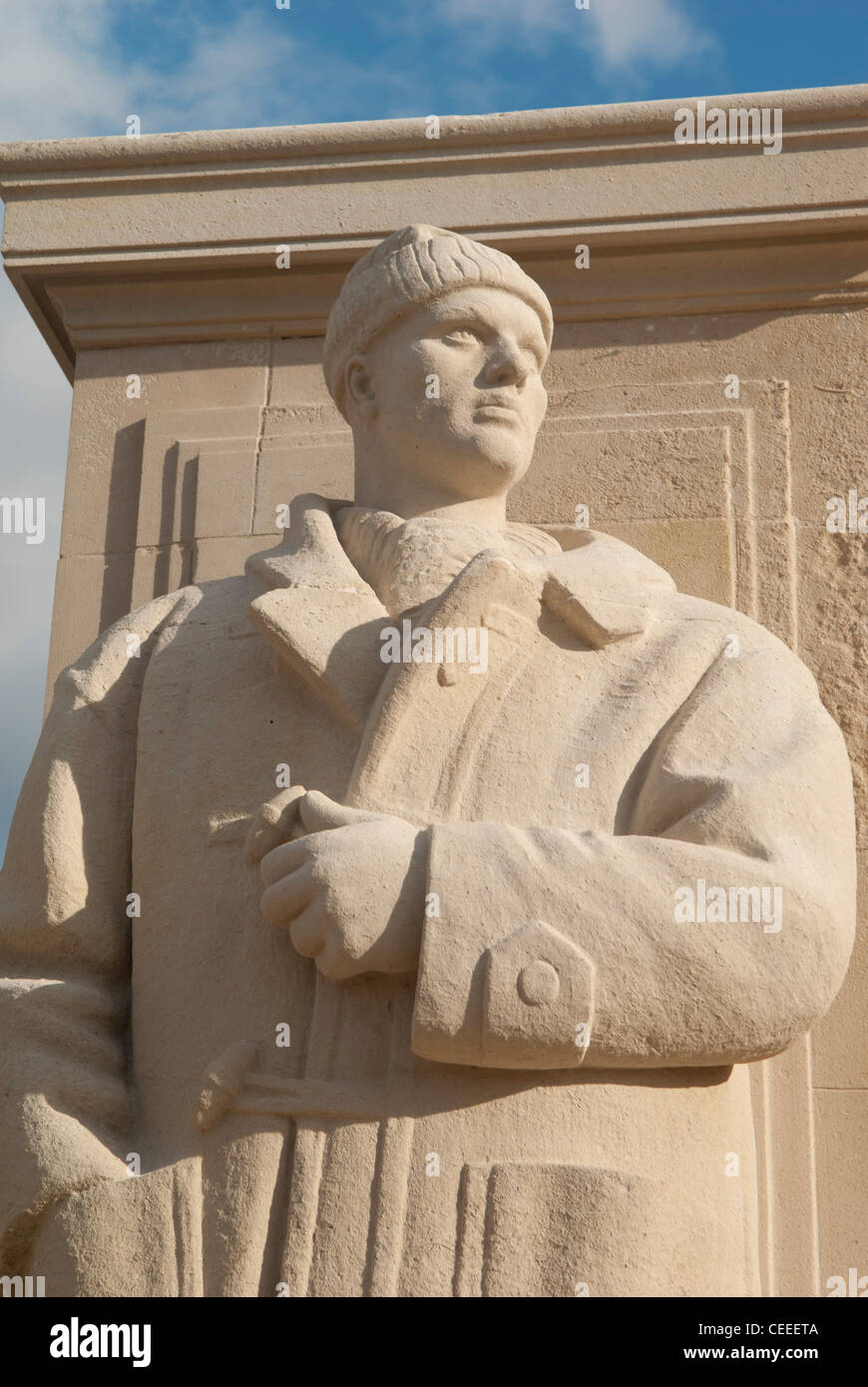 Stone statue representing a sailor in World War Two, Naval War Memorial, Plymouth, UK - Stock Image