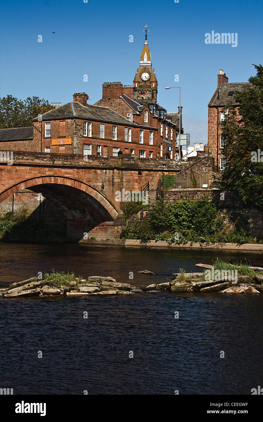 The River Annan, Annan Bridge and Town Hall, Dumfries and Galloway - Stock Image