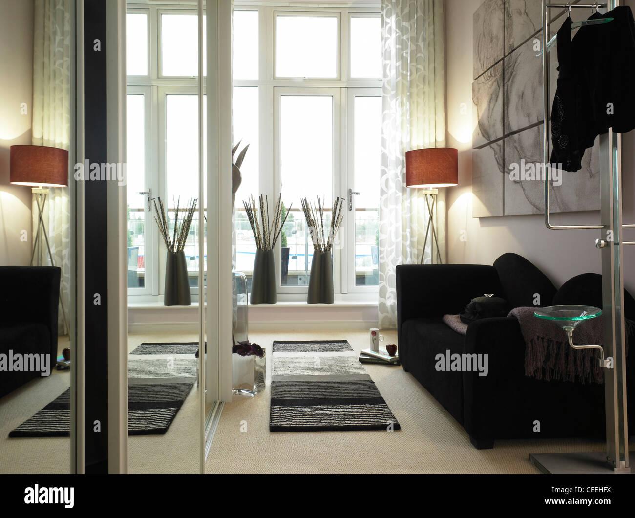 Interior view of bedroom area - Stock Image