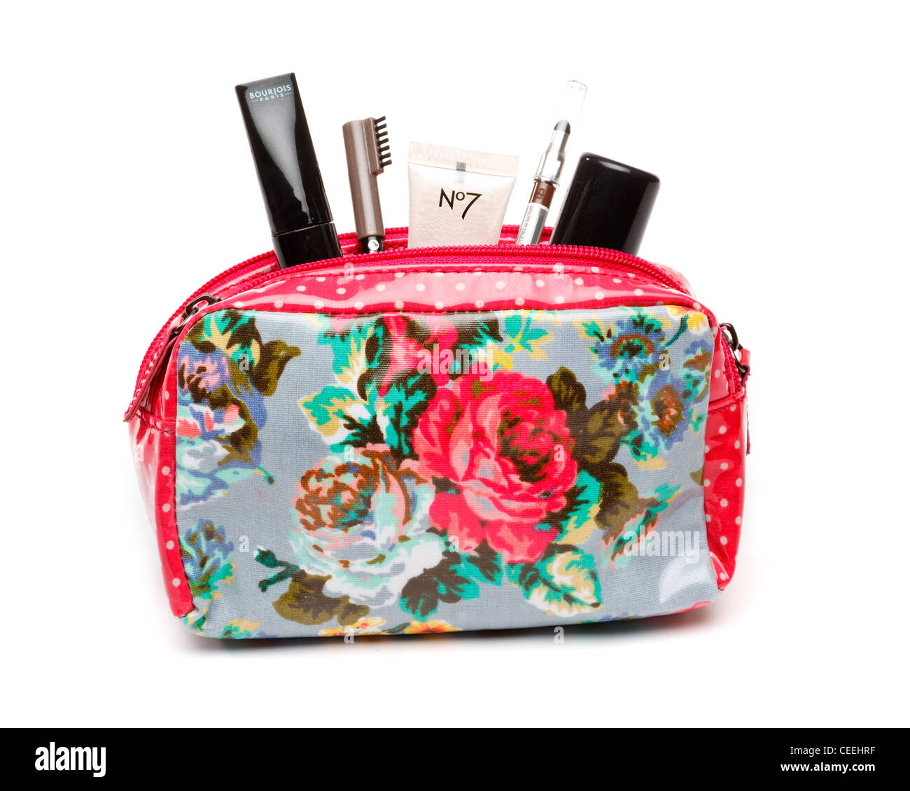 Makeup bag on white background, UK - Stock Image
