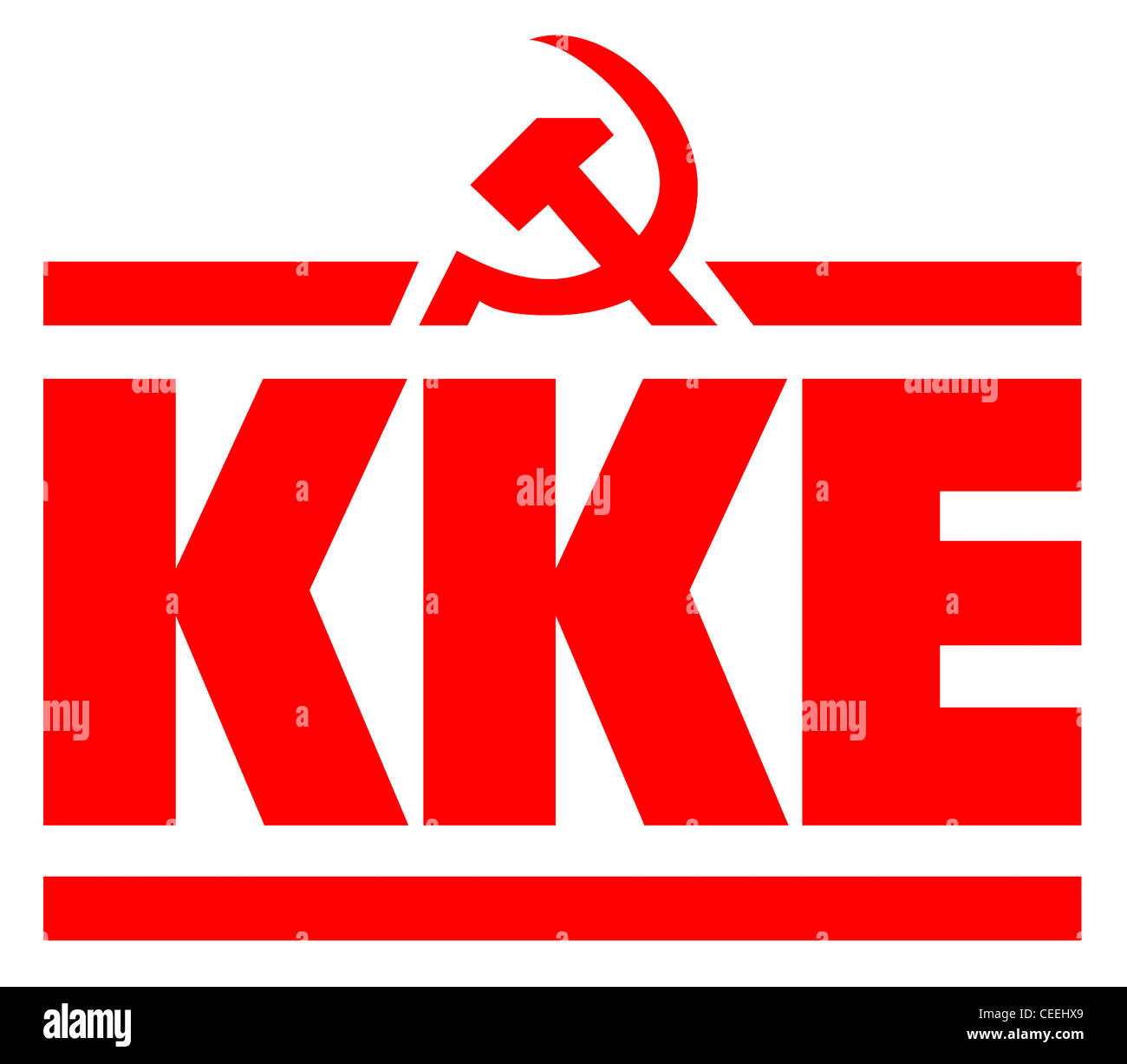 Logo of the Communist party of Greece KKE. - Stock Image