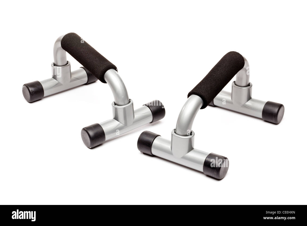 Push up bars on white background - Stock Image