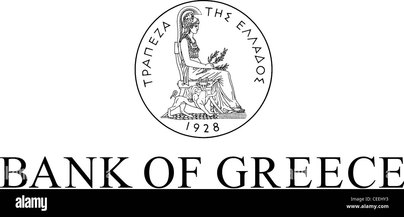 Logo of the Bank of Greece with seat in Athens. - Stock Image