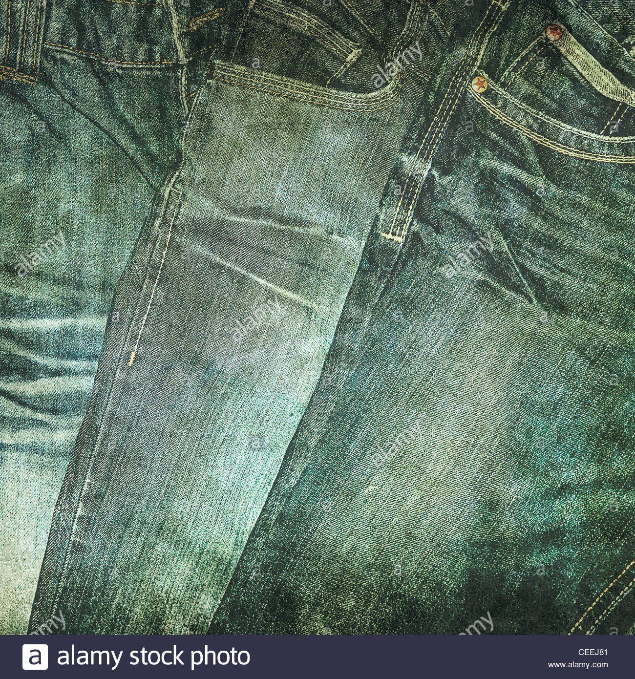 old jeans photo - Stock Image