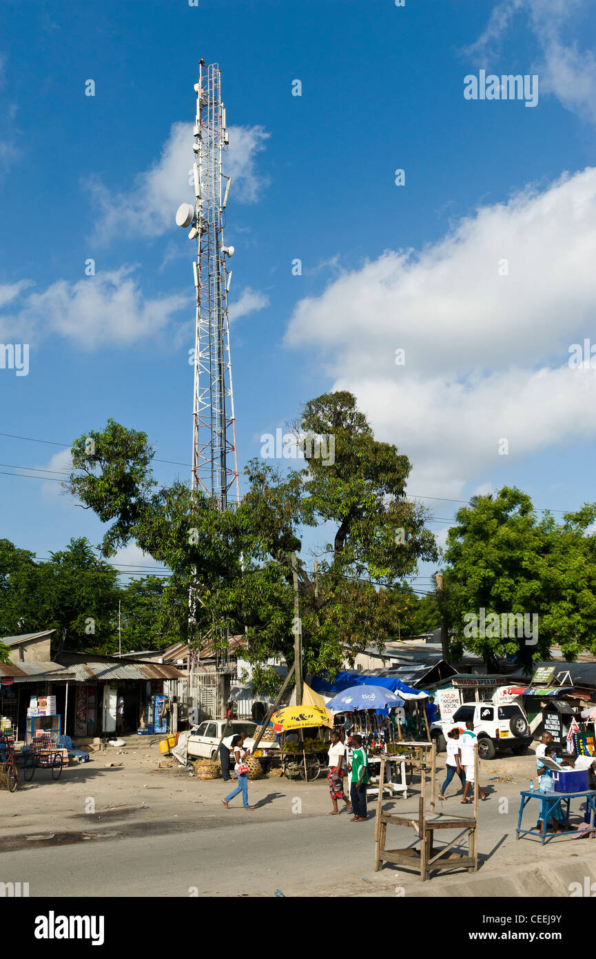 Telecommunications tower in Dar es Salaam Tanzania - Stock Image