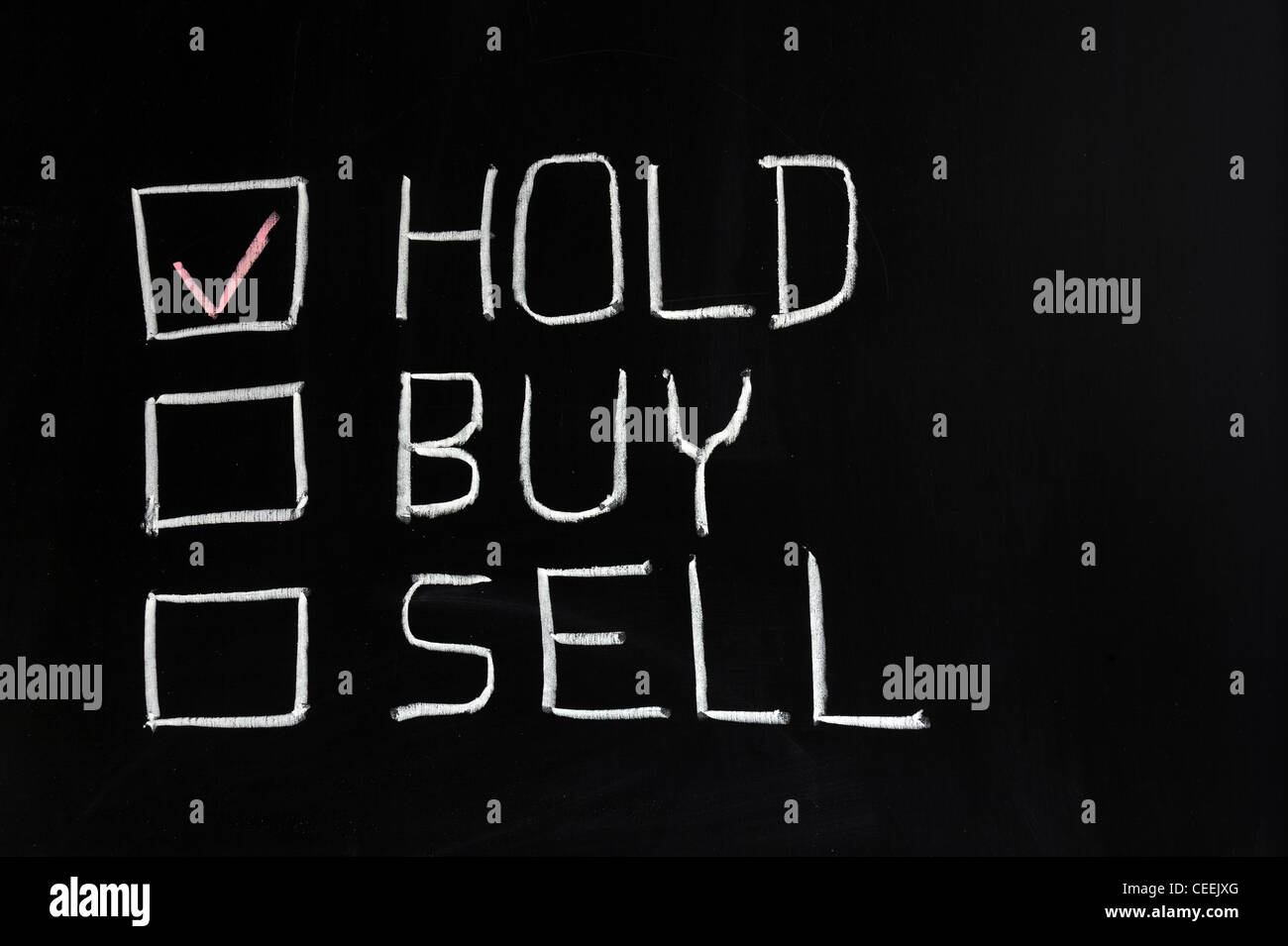 Chalk drawing - Hold, buy or sell Stock Photo: 43348104 - Alamy