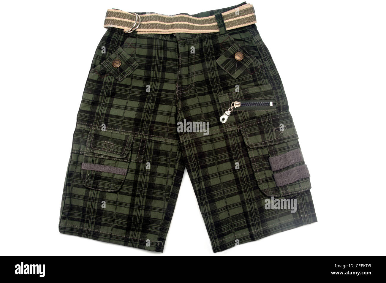 toddler cargo shorts isolated on white background - Stock Image