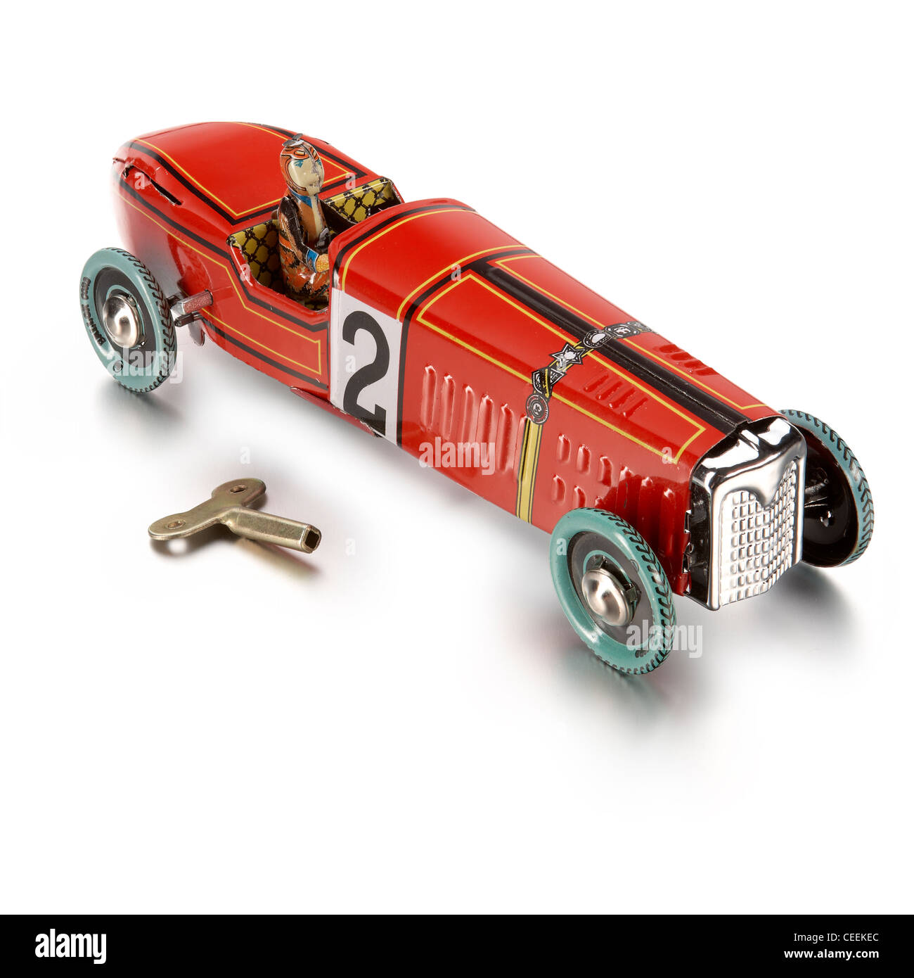 wind up tin toy racing car - Stock Image